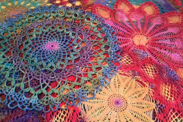 Hand-dyed doilies by Wendy Richardson