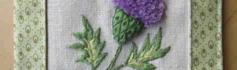 Stumpwork Embroidery: Scottish Thistle