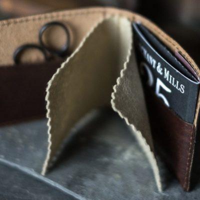 merchant mills leather needle wallet inside view